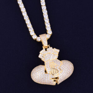 Dollar Money bag Pendant Charm With 4mm Tennis Chain