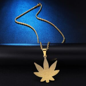 Iced Out Pot Leaf Pendant Charm With Rope Chain Necklace