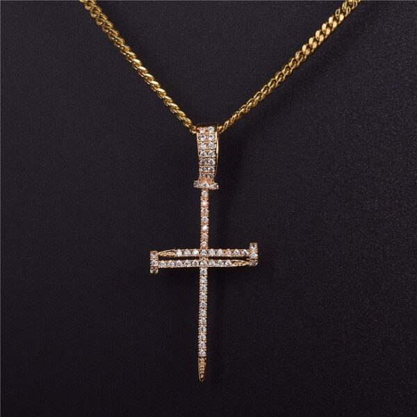 Iced Rock Nail Jesus Christ Cross Charm Pendant With Rope Necklace Chain