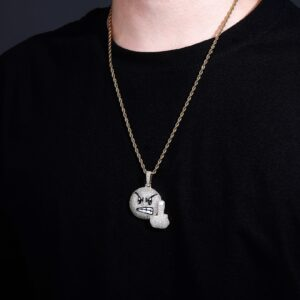 Iced Angry Emoji Pendant Charm With Necklace