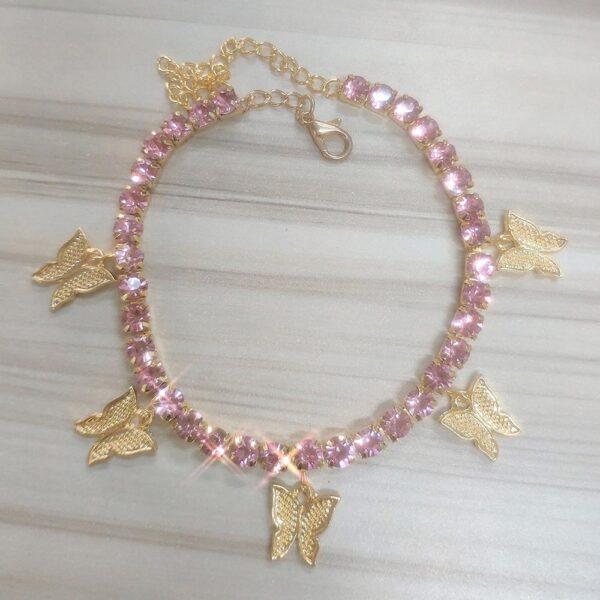 Iced Women's Charm Butterfly Fashion Jewelry Anklet Bracelets