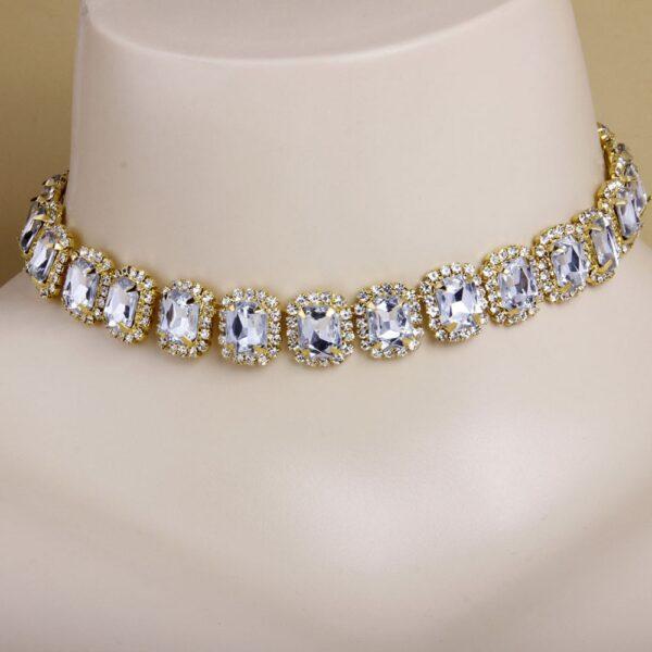 Women's Big Stone Square Tennis Choker Necklace
