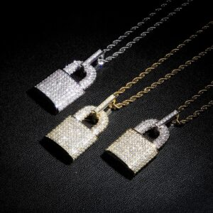 Icy Lock Pendant For Men Jewelry Charm With Rope Necklace