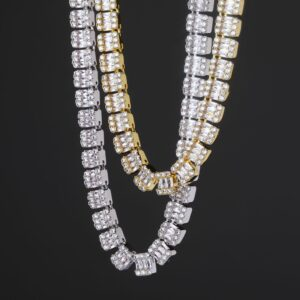 10mm Tennis Necklace Gold Silver Color