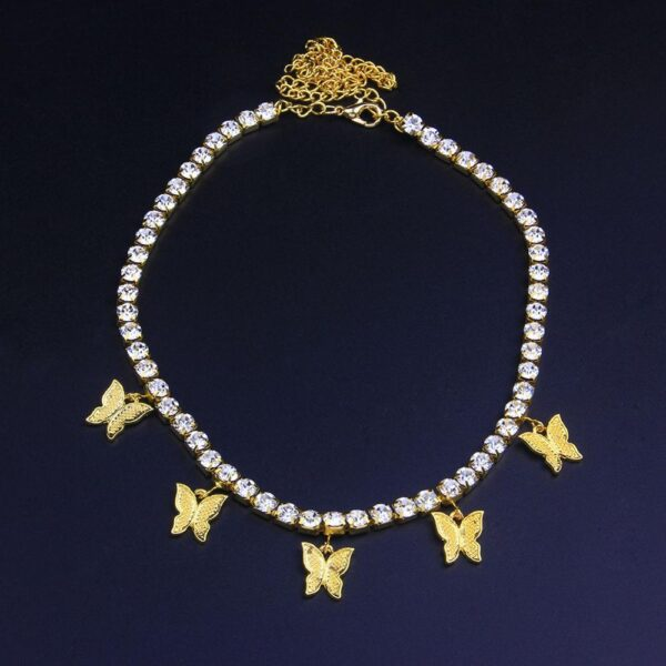 Women's Iced Out Butterfly Choker Necklace Jewelry