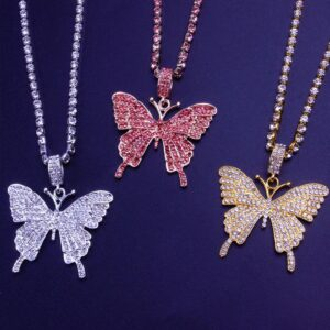 Women's Iced Butterfly Charm Pendant Choker Chain Necklace