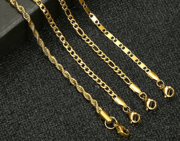 """3mm Figaro Curb Link Chain Anklet Bracelet Unisex 10"""""""