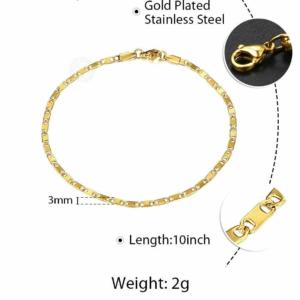 3mm Figaro Curb Link Chain Anklet Bracelet Unisex 10