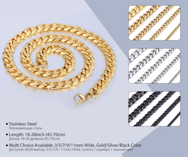 Miami Curb Cuban Link Chain Men Fashion Jewelry