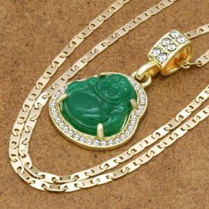 Green Buddha Pendant w/3mm 24