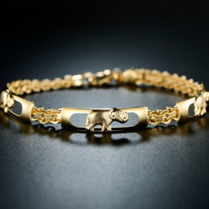 18K Yellow Gold Plated Three Row Elephant Bracelet Size 7.5""