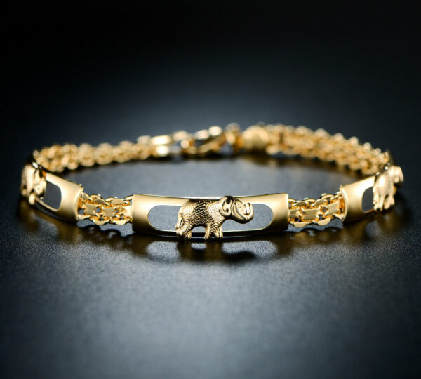 "18K Yellow Gold Plated Three Row Elephant Bracelet Size 7.5"""