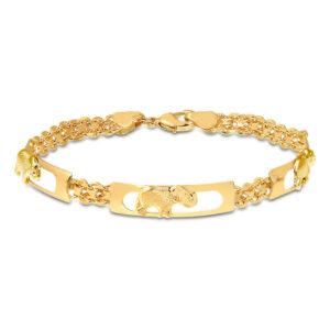 18K Yellow Gold Plated Three Row Elephant Bracelet Size 7.5
