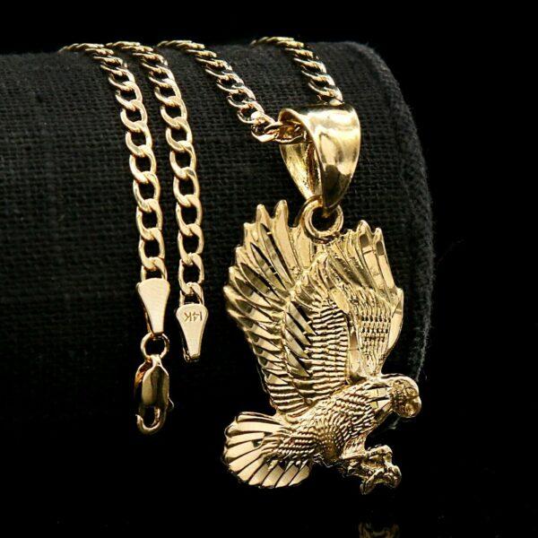 """18k Eagle Diamond Cut Charm Pendant 3mm 18"""" Cuban Necklace Chain"""