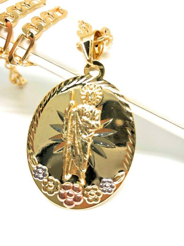 "San Judas Medalla Saint Jude Pendant 26"" Figaro Chain"
