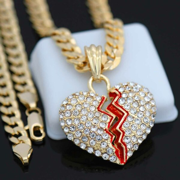 "BROKEN HEART Pendant 14k Gold Plated 24"" Cuban Chain Necklace"
