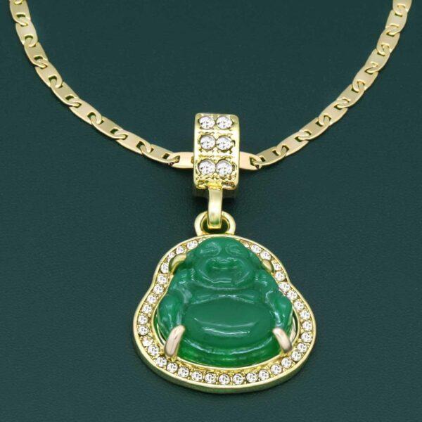 "Green Buddha Pendant w/3mm 24"" Valentino Link Chain"