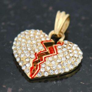 BROKEN HEART Pendant 14k Gold Plated 24