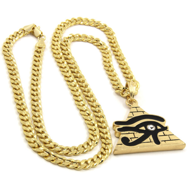 """Eye of Ra Egypt Pyramid With 24"""" Cuban Chain Necklace"""