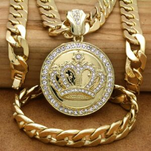 XL Iced Crown Pendant With 30