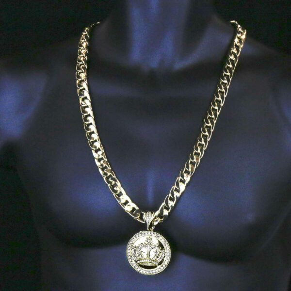 """XL Iced Crown Pendant With 30"""" Cuban Chain and Bracelet"""