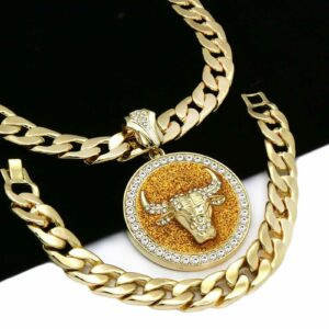 "XL BULL Pendant With 30"" Cuban Chain and Bracelet"
