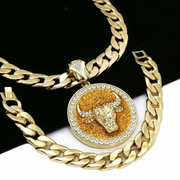 """XL BULL Pendant With 30"""" Cuban Chain and Bracelet"""