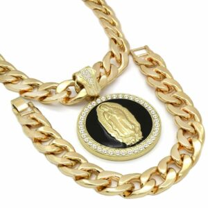 XL Black Guadalupe Pendant With 30
