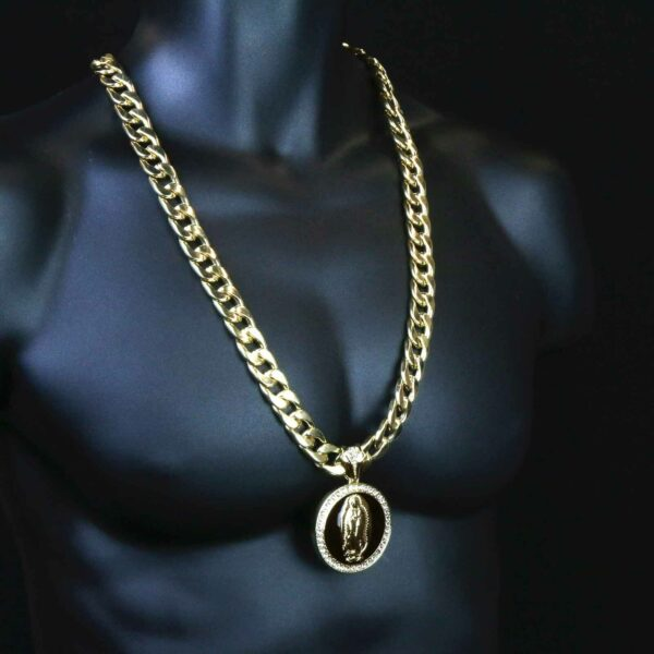 """XL Black Guadalupe Pendant With 30"""" Cuban Chain and Bracelet"""