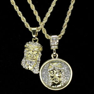 "2 Jesus Piece's Iced Pendants w/24"" Rope Chains Hip Hop Fashion"