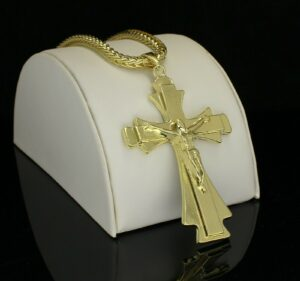 "Large Crucifix Pendant w/24"" Franco Link Chain"