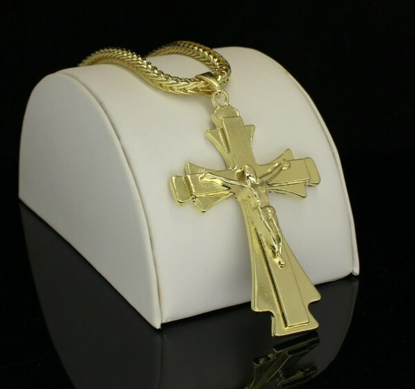 "Large Crucifix Pendant w/24"" Franco Link Chain"
