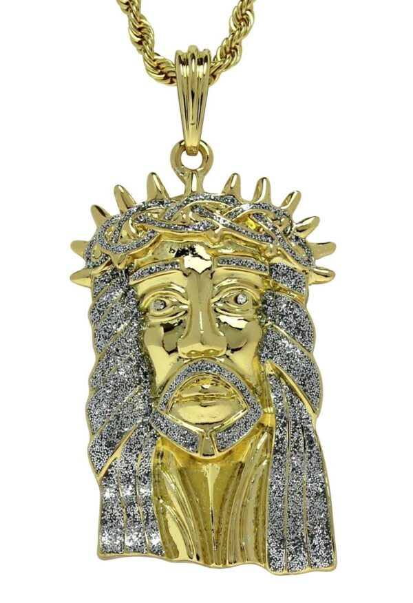 "Large Jesus Piece Pendant With 24"" Rope Chain"