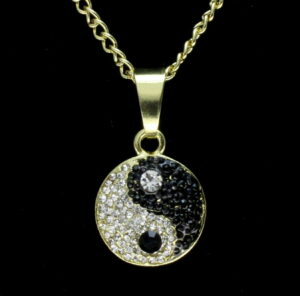 "Icy Ying Yang Pendant w/24"" Rope Chain"