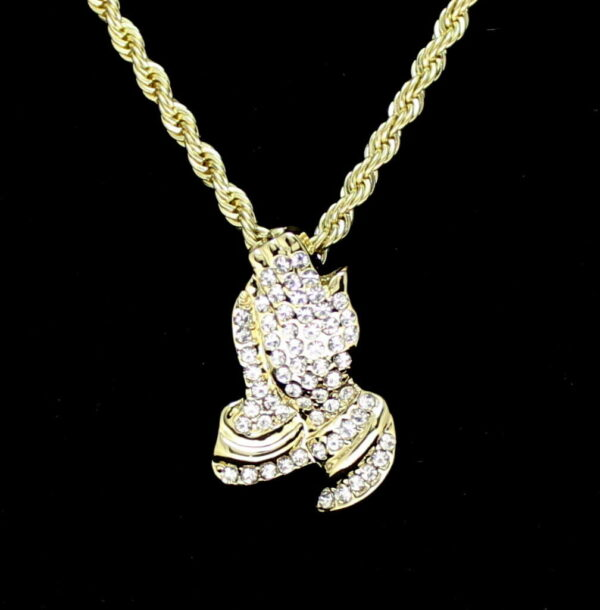 """Praying Hands Pendant Charm With 24"""" 3mm Rope Chain"""