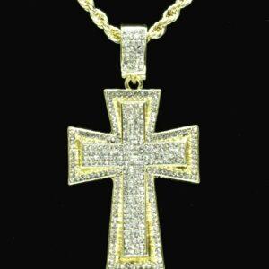 Jesus Cross Pendant 14k Gold Plated w/24