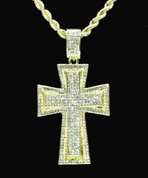 "Jesus Cross Pendant 14k Gold Plated w/24"" Rope Chain"
