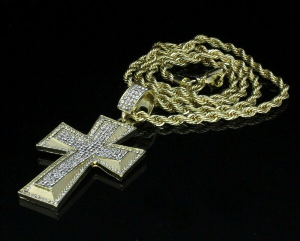 """Jesus Cross Pendant 14k Gold Plated w/24"""" Rope Chain"""