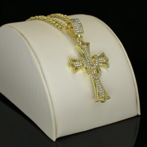 "Icy 1.75"" Cz Cross Pendant With 24"" Rope Chain"