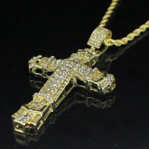 "Large Iced Jesus Cross Pendant w/24"" Rope Chain"