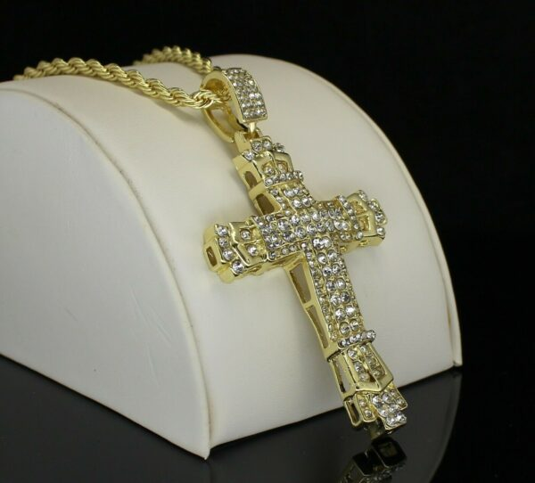 "Large Iced Jesus Cross Pendant w/24"" Rope Chain"