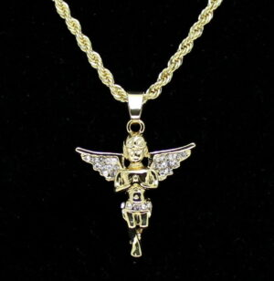 "Beautiful Iced Wing Angel Charm w/24"" Rope Chain"