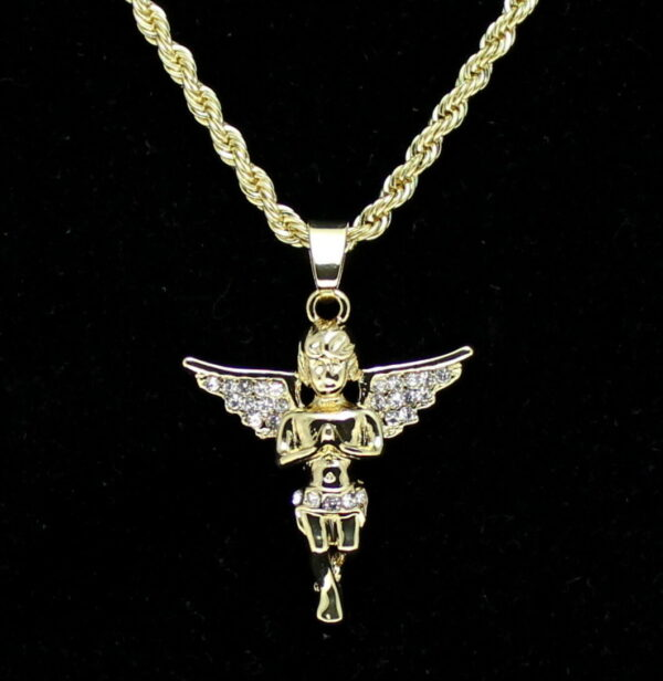 "Beautiful Iced Wing Angel Charm w/24"" Rope Chain"