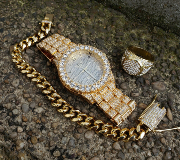 Men's Iced Lab Stone Watch, Cuban Bracelet And Pinky Ring Fashion Jewelry Set