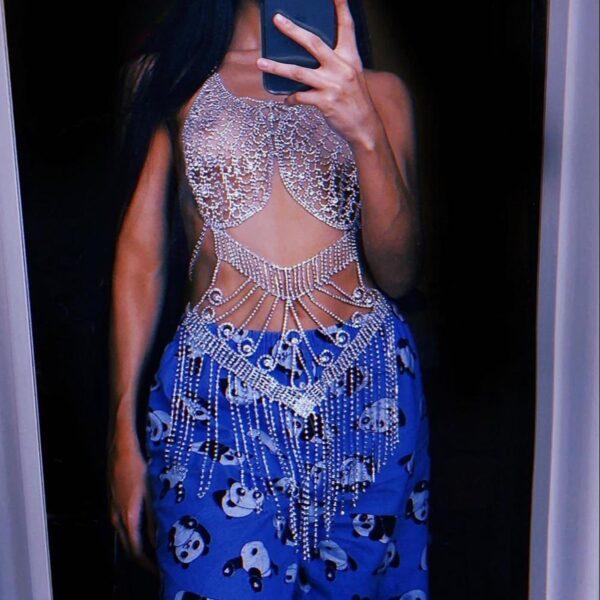 Sexy Full Body Shiny Jewelry chain Bra Set Tassel Bodysuit For Women