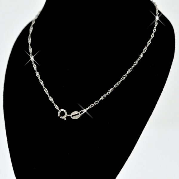 Solid 925 Sterling Silver Water Wave Chain Necklace