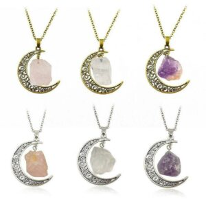 Natural Quartz Crystal Pendant Chakra Healing Gemstone Moon Necklace Jewelry