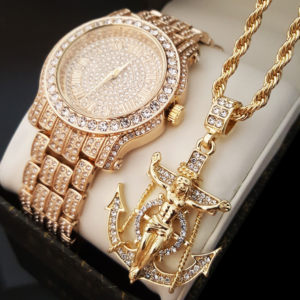 Iced Bust Down Lab Stone WATCH & Jesus Anchor Necklace Set