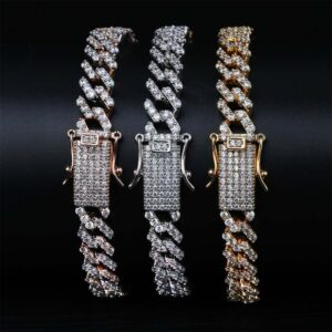 "Men's Thick Miami Iced Cuban Link Bracelet Sizes 7"" To 9"" Fashion Jewelry"