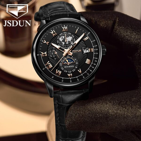 Top Brand JSDUN Luxury Men's Mechanical Wristwatch Automatic Watch Men Classic Moon Phase Leather Waterproof Military Wristwatch